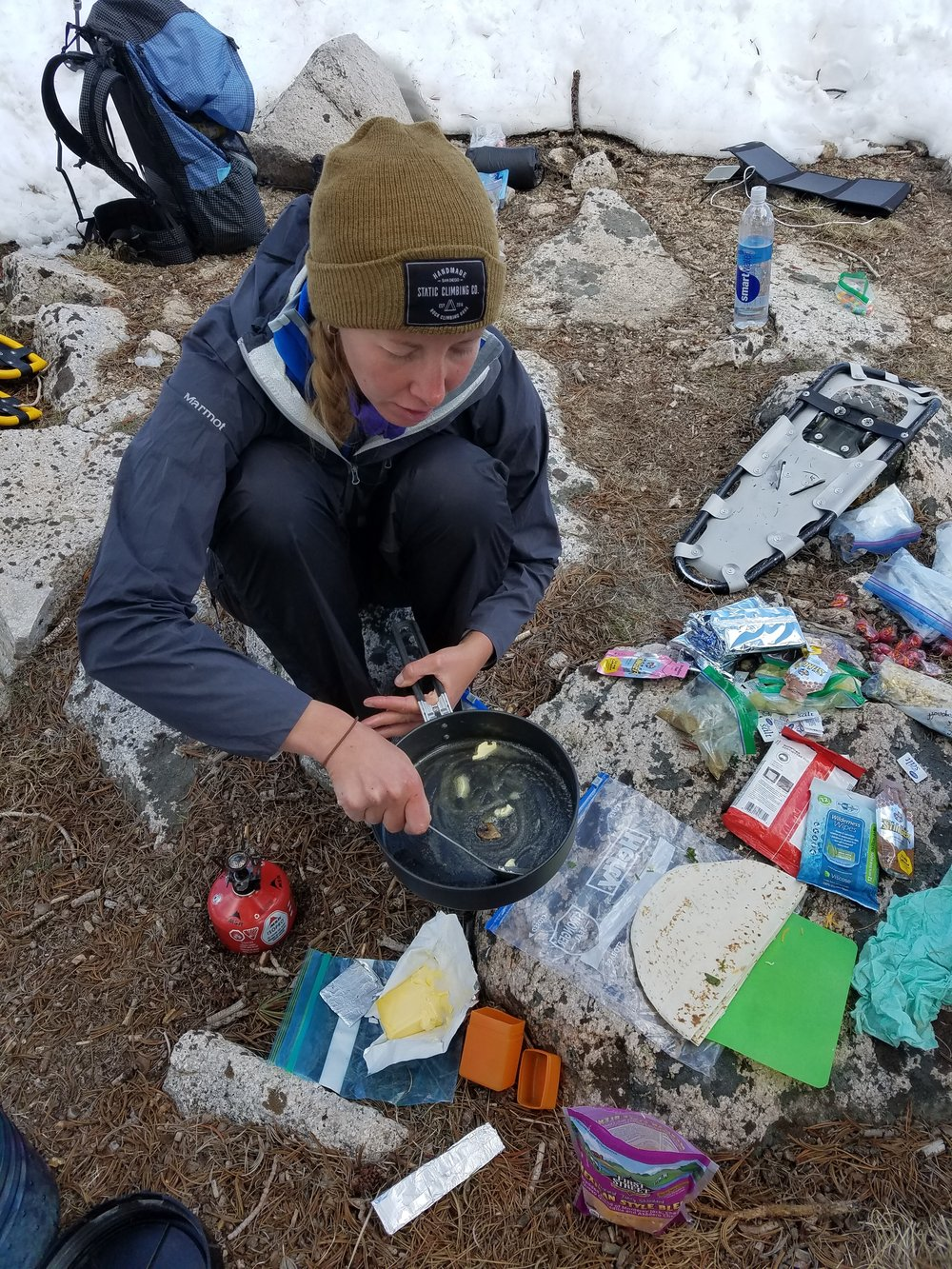 Arch-trail angel Mel whipping up some veggie quesadillas among the resupply tornado.