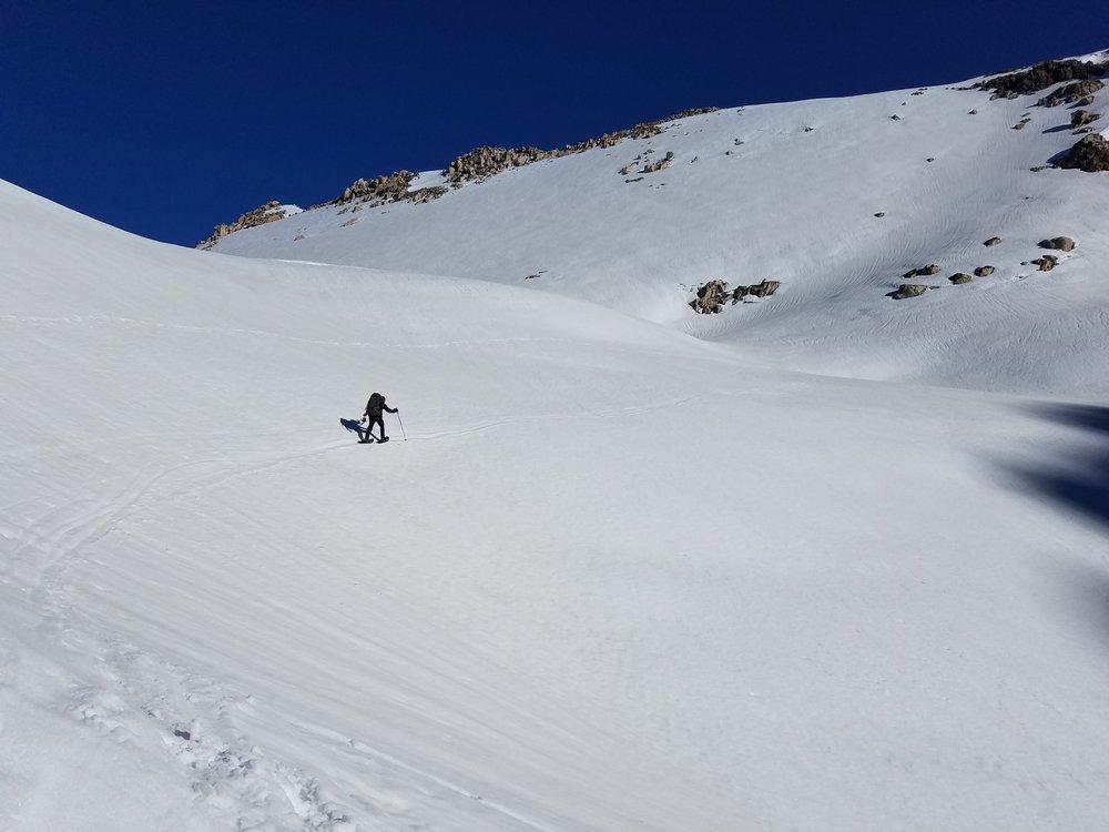 Amped headed toward Glen Pass.