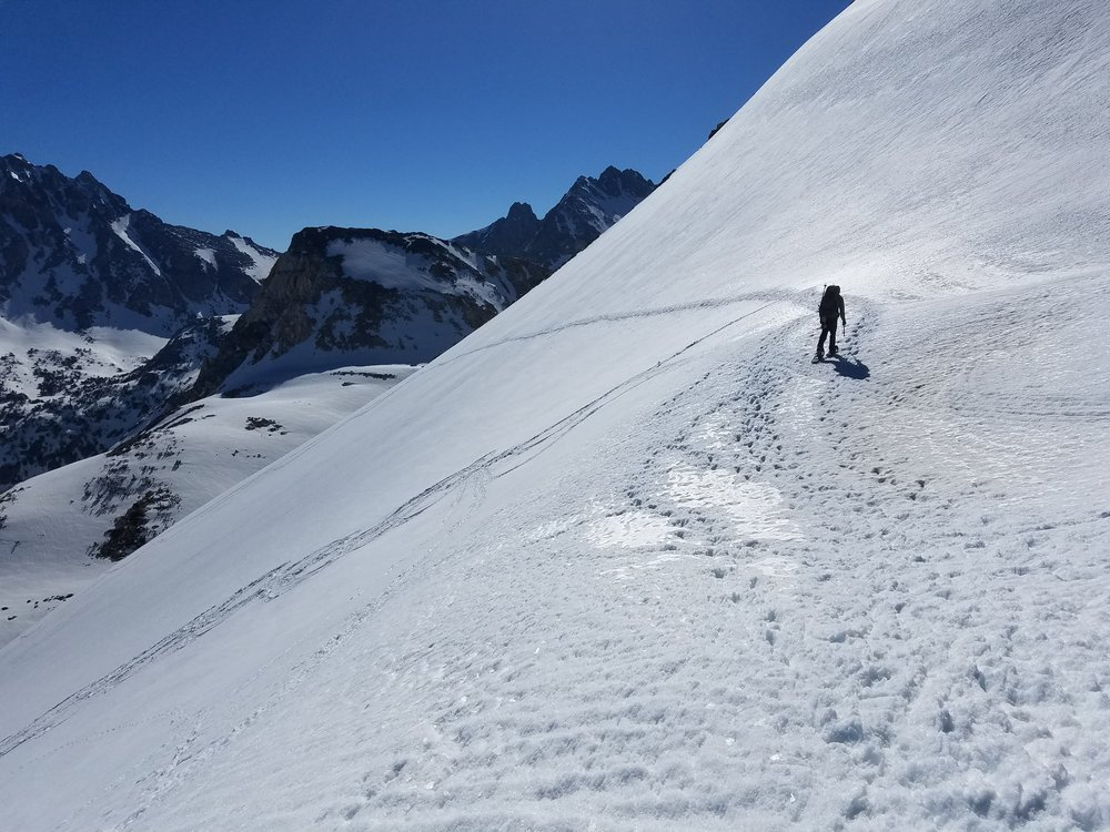 Headed off Glen Pass, possibly the steepest descent on the PCT.