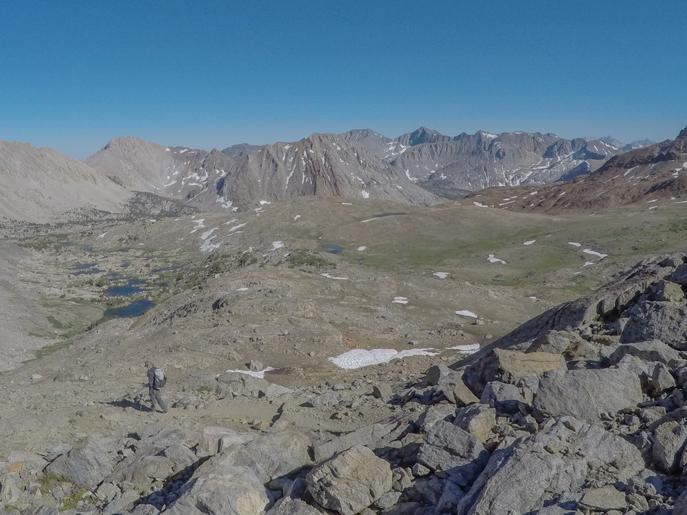 June 2016 - Happy times from the top of Pinchot Pass, looking south.