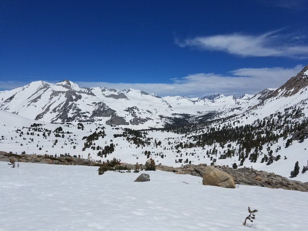 Looking towards the South Fork of the Kings River drainage with Mather Pass in the distance.