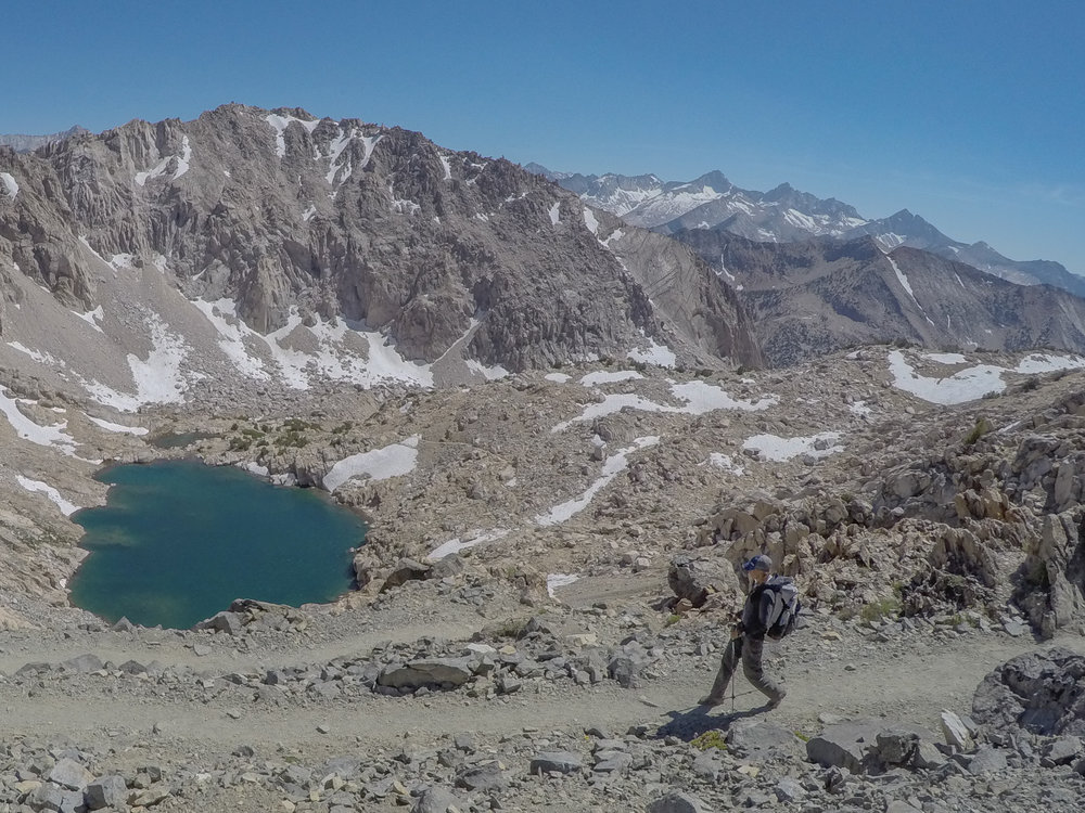 June 2016 - Looking south from Glen Pass. Melanie strolling down the switchbacks.
