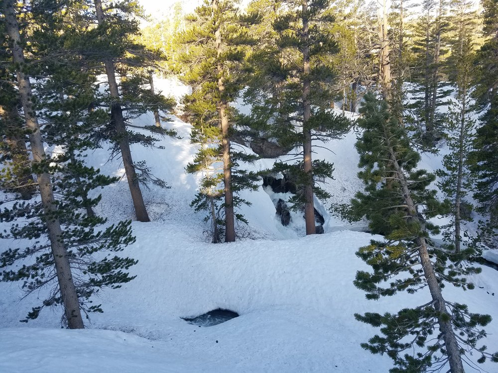 Snowbridges over the major Bear Creek tributaries.