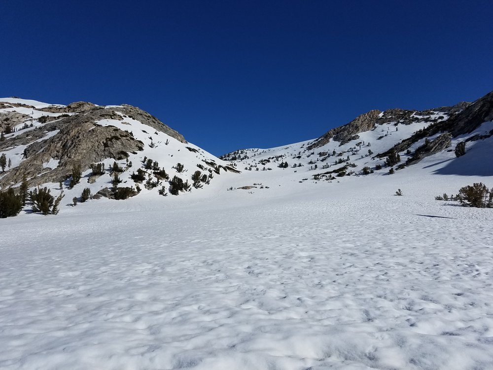 Looking up to Silver Pass, just right of the faint snow/tree mound in the notch.