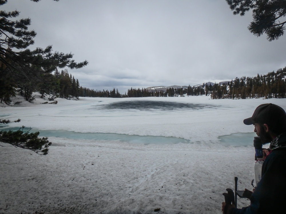 McCloud Lake, one of the least frozen lakes we'd seen so far... All downhill from here!