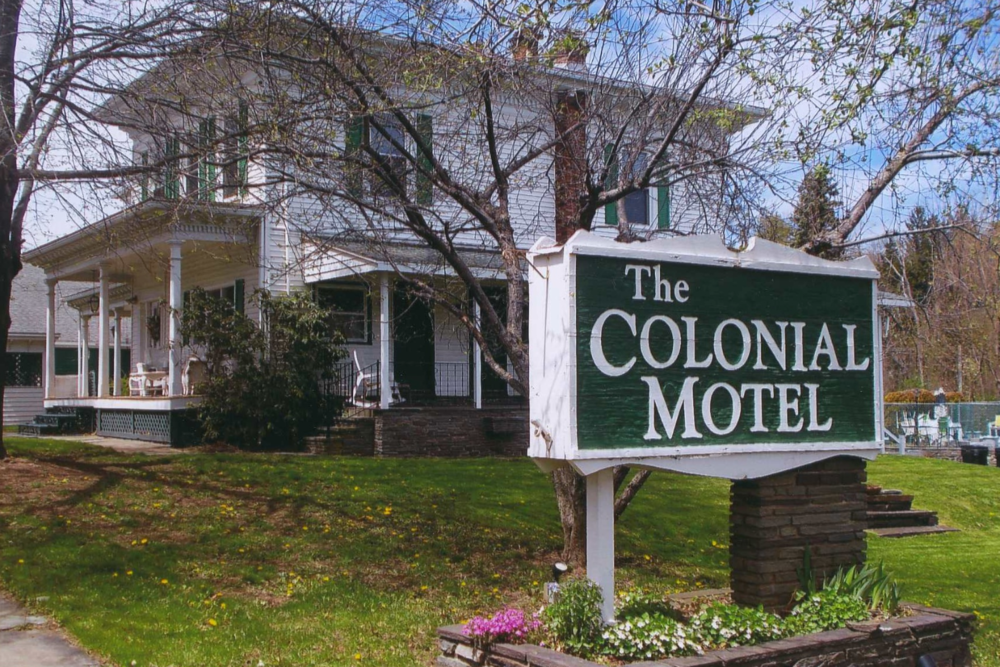 THE COLONIAL MOTEL - Pet-friendly37283 State Highway 23Grand Gorge, NY 12434(607) 588-6122info@colonialmotel.bizwww.colonialmotel.bizClick here to book room.Distance: 25 miles / 36 minutesCapacity: 50 people