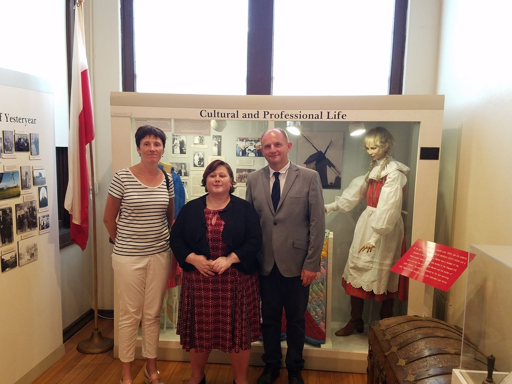 Christine Hoffman (center) with the Honorable Piotr Całbecki, Marszałek (Governor) of Kujawsko-Pomorskiego, Toruń, Poland and his wife,Dagna Całbecki. They honored CHHS Museum with a visit in July, 2017, which was a culmination of three years of developing stronger connections between the historical society and the local Polish descendant communities.