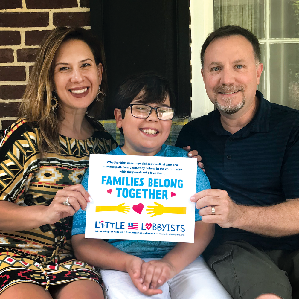 2. Get together with your family for a photo - Print this page and take a photo with your family to share the message - FAMILIES BELONG TOGETHER! Share it on social media (you could even make it your profile picture!) and don't forget to hashtag #FamiliesBelongTogether and tag @LittleLobbyists, too!