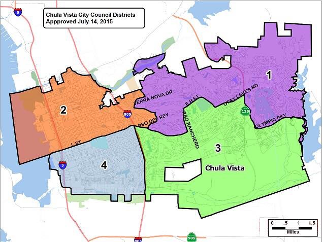 Map of Chula Vista districts. Mark is running for District One.