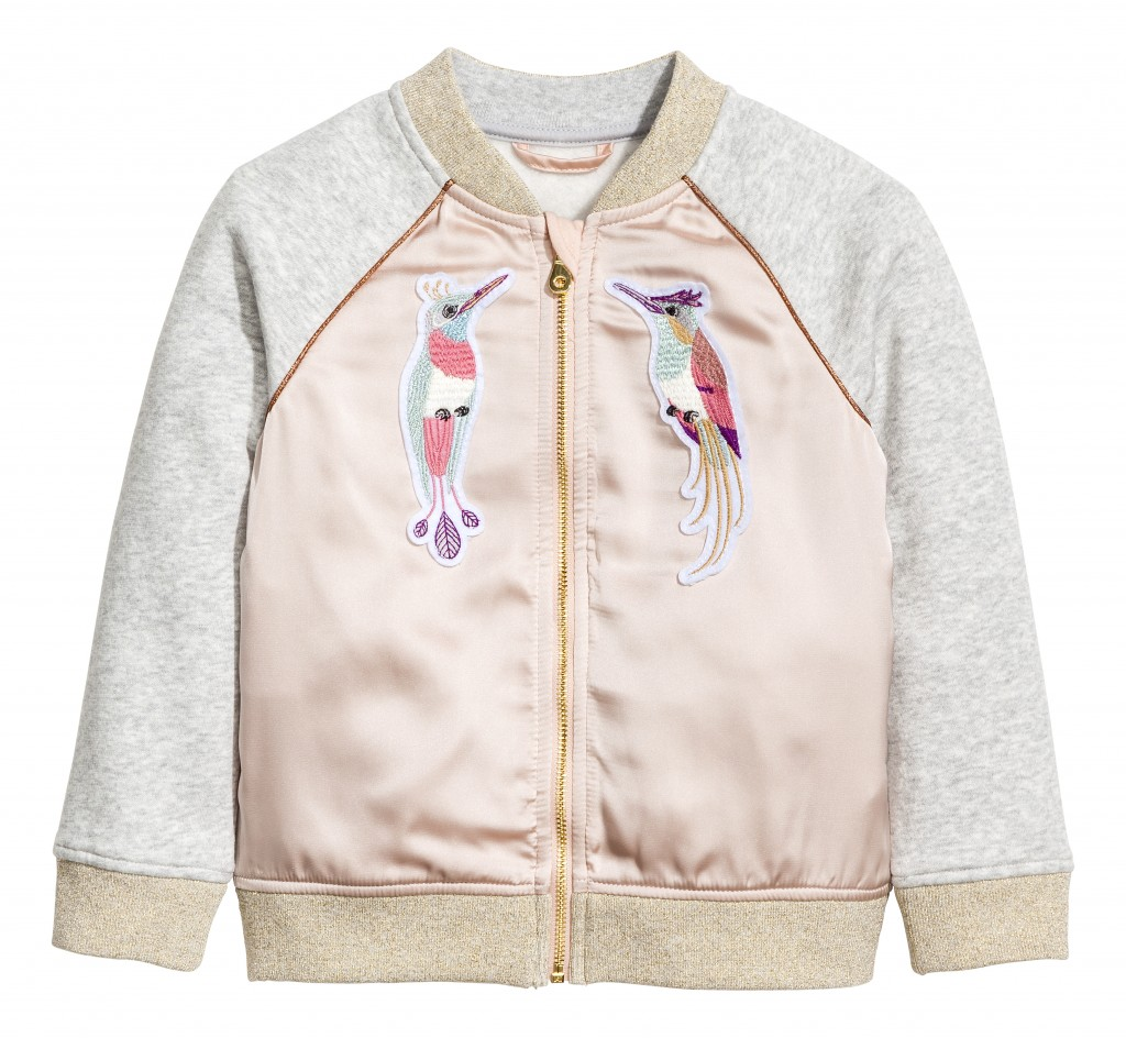 Lovely birds on a gray and pink jacket