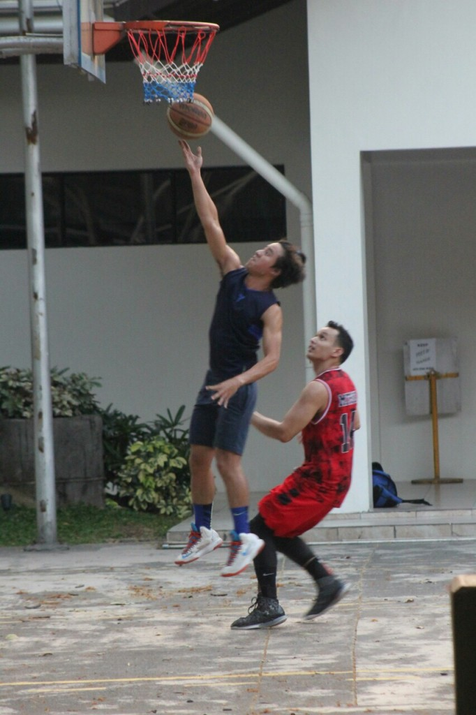 Coby playing basketball