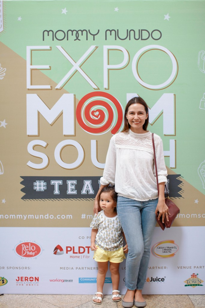 Cat Juan Ledesma, blogger and online show producer, with her little one