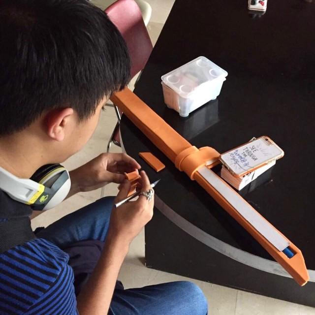 Zach creating one of his signature foam swords