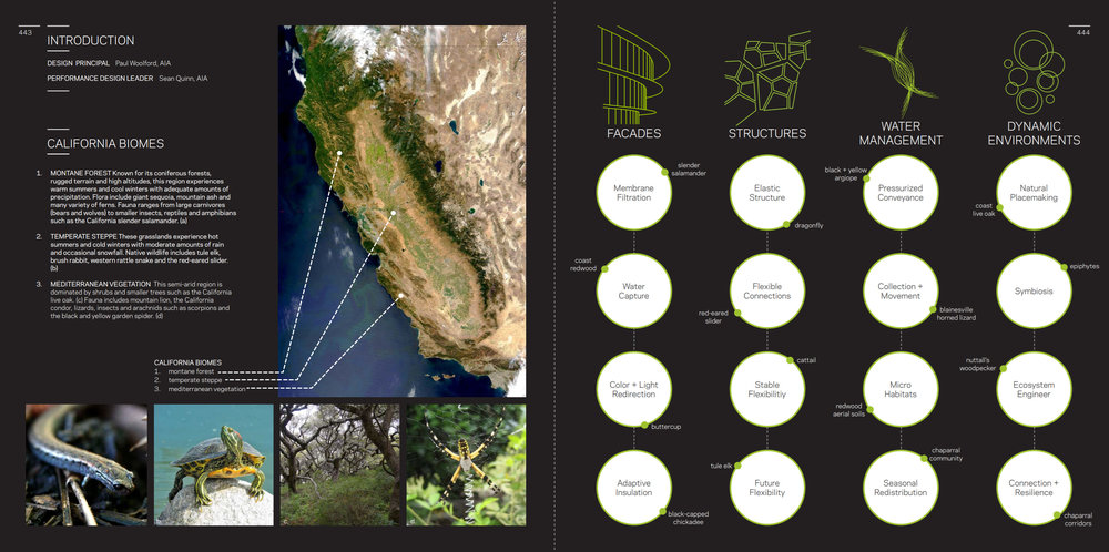 Upcoming report studies 3 California biomes and applies the learning to 4 different application areas: facades, structures, water management and dynamic environments