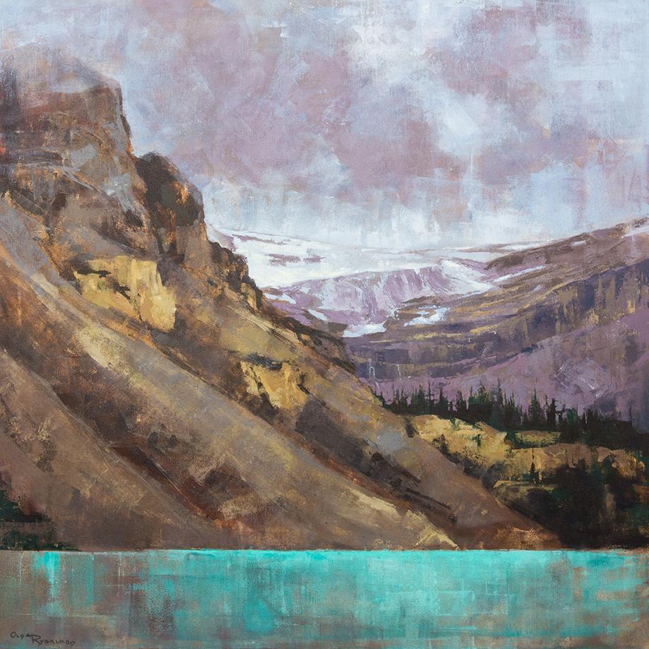 olga rybalko painting landscape banff jasper bow lake turquiose