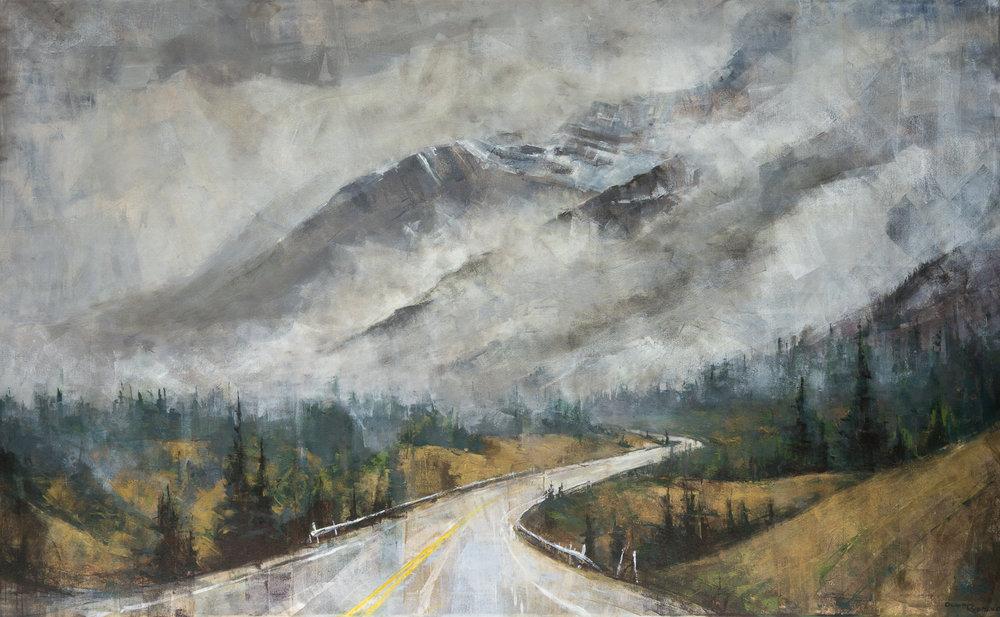 olga rybalko painting landscape banff jasper mountains road