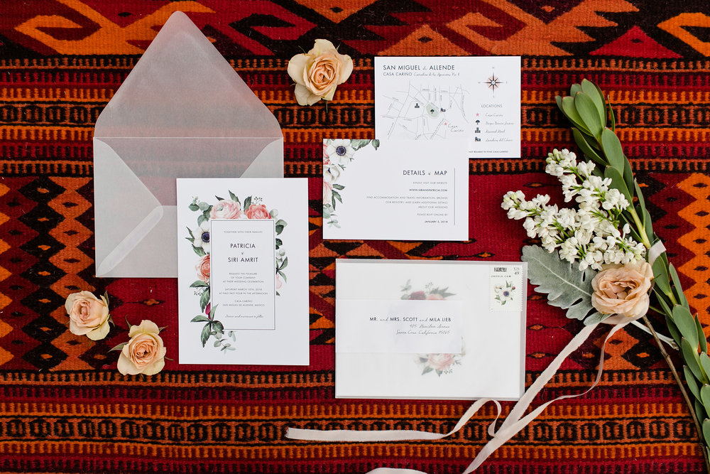 Mexican style custom wedding invitation, Portland, Oregon