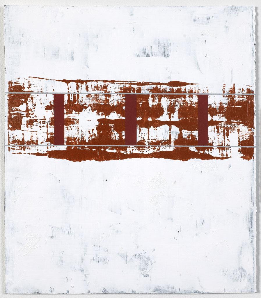 "Untitled (Marathon,TX)    Acrylic & enamel on T.H. Saunders paper  14"" x 12""  2017"