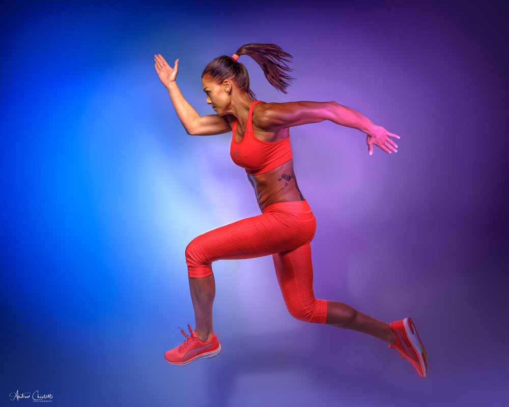Fitness photography, colour and action
