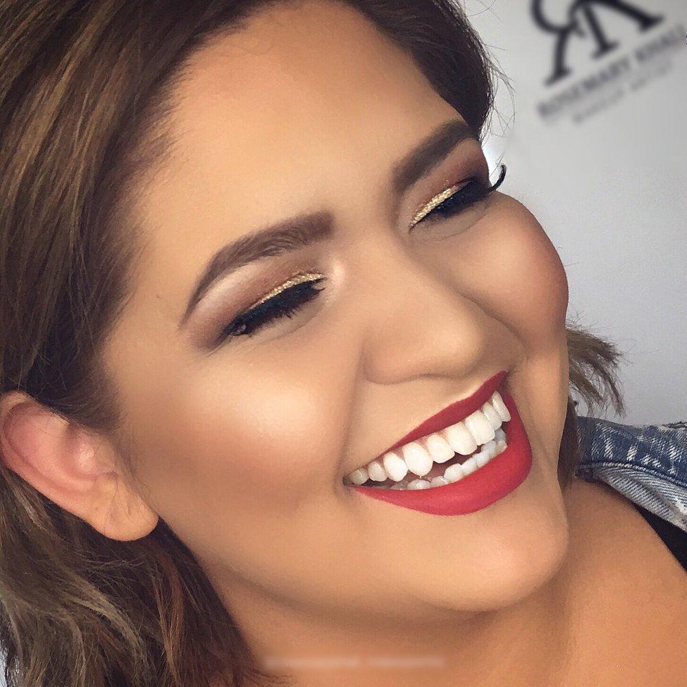 red lip and bronze eye makeup look
