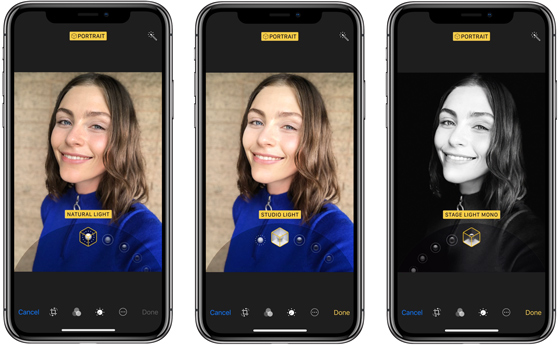 Portrait mode for taking images.