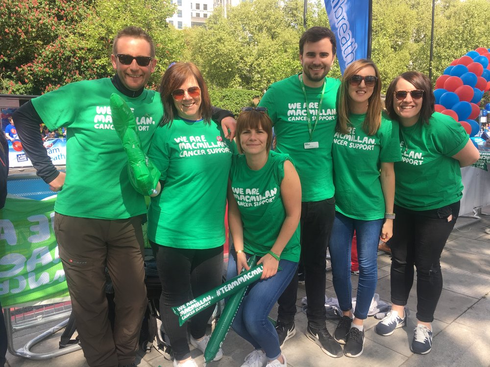 Team Lay Volunteering for Macmillan Cancer Support at the London Marathon 2017