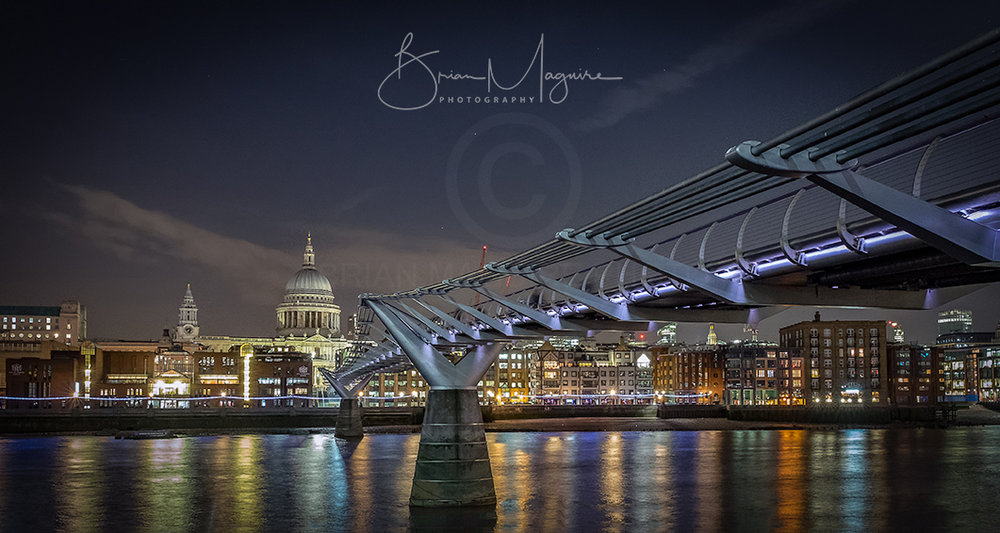 "LON0010 ""Millennium Bridge at night"""