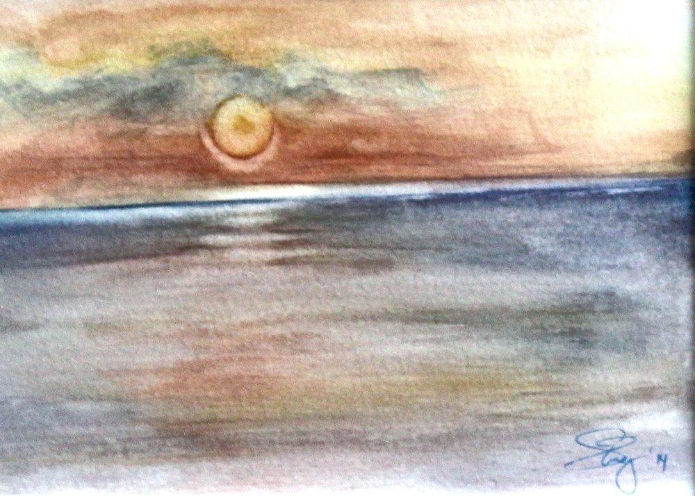 Kos at Dusk -  2014 watercolour on paper 20cm x 30cm