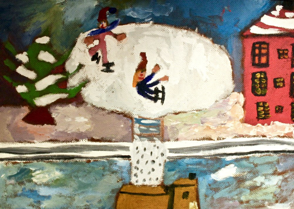 Fell Down Skating -  1976 acrylic on canvas 38cm x 53cm