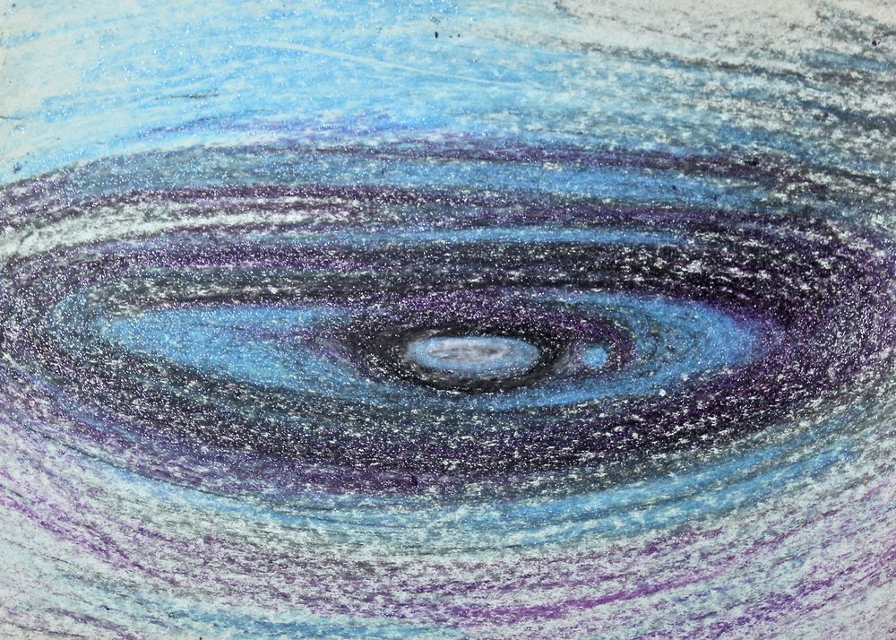 Swirling Inside -  1983 crayon on paper 20cm x 26cm