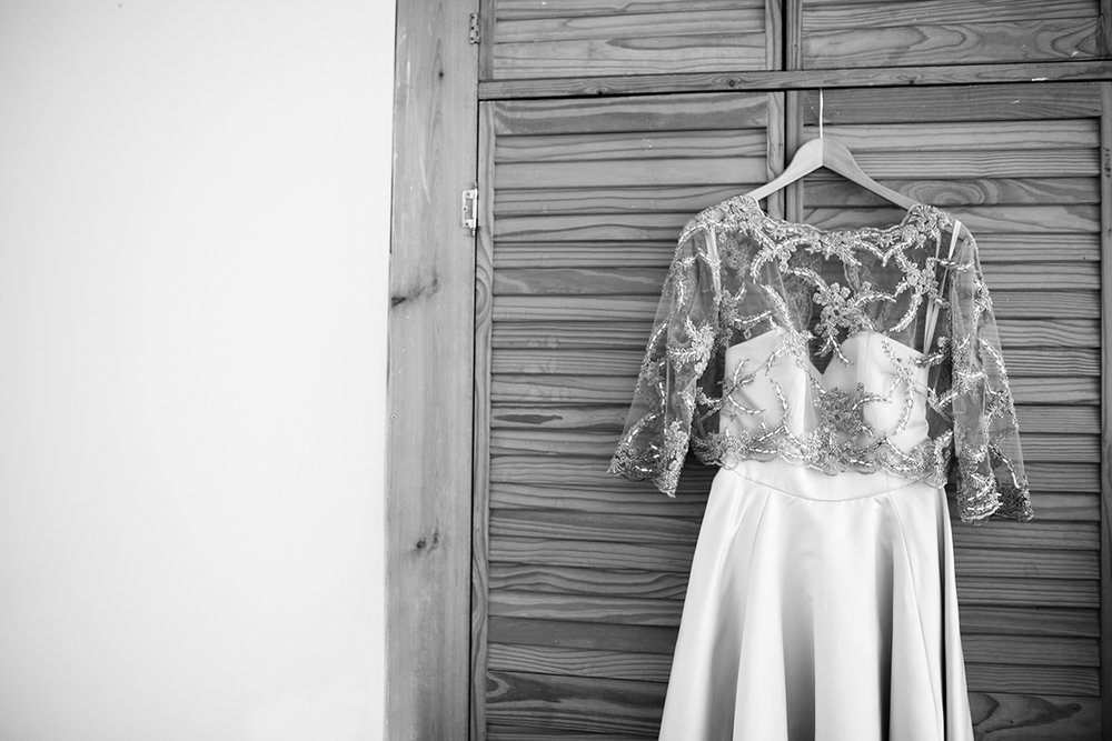 black and white photo of wedding dress Sophie Lake Photography