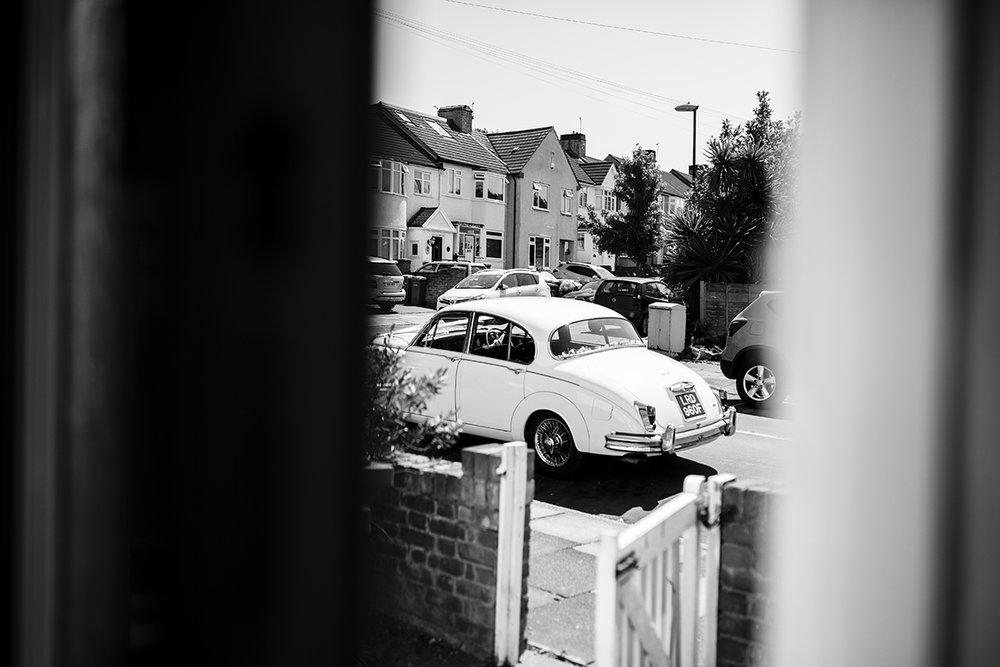 White wedding car Sophie Lake Photography