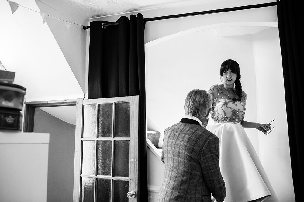 Black and white Father and bride Sophie Lake Photography