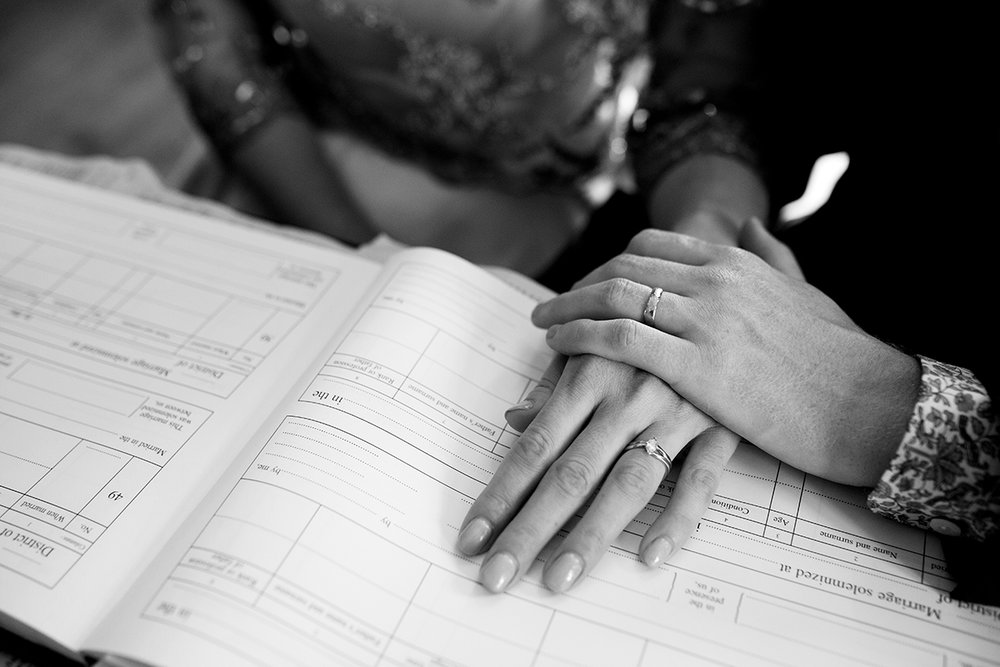 Bride and groom's hands Sophie Lake Photography