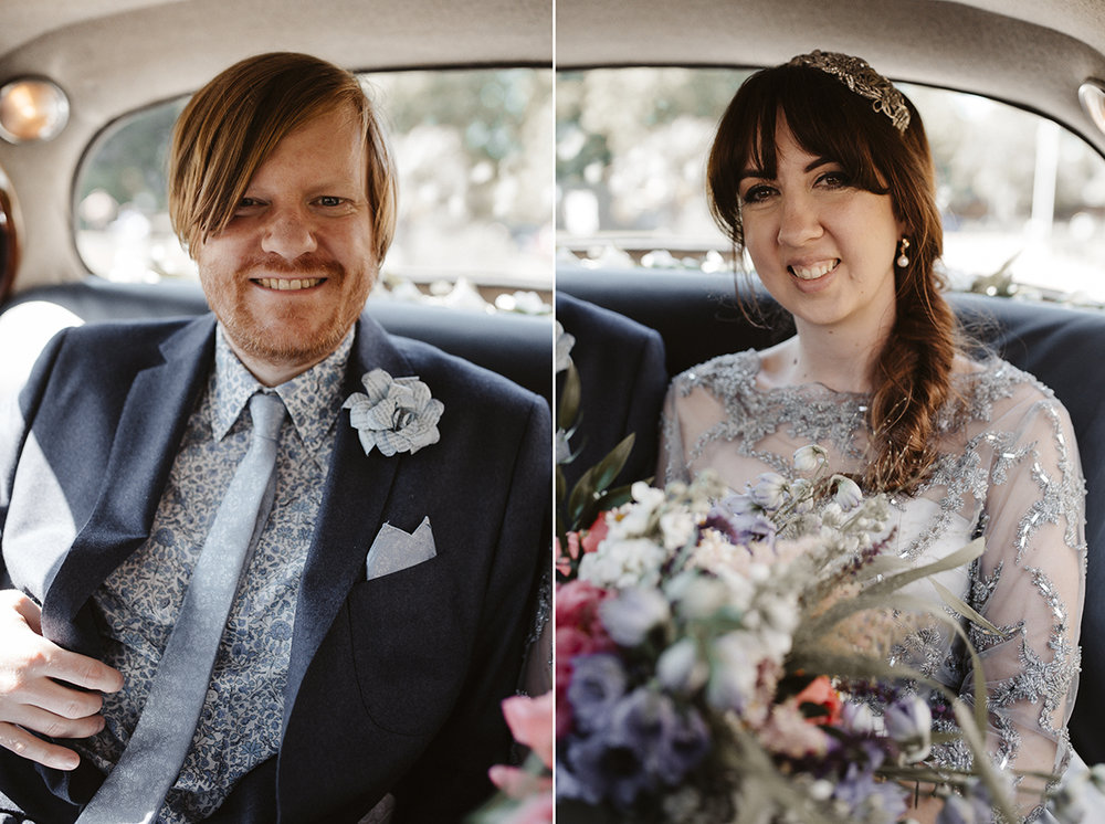 Bride and Groom in wedding car Sophie Lake Photography