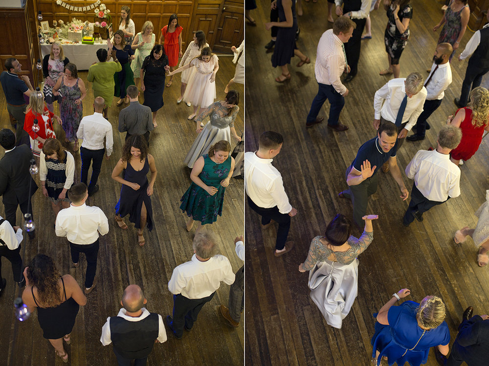 Aerial shot of Wedding Guests Swing Dancing Sophie Lake Photography