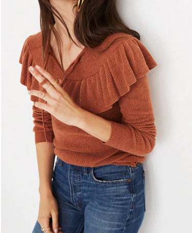 Madewell Ruffled Tie-Front Pullover
