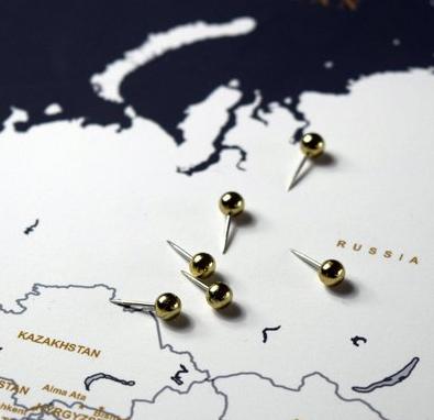 Gold Map Push Pins