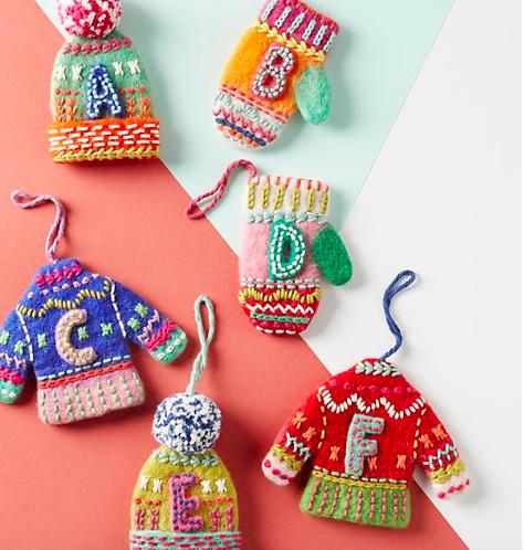 Bundled-Up Monogram Ornaments