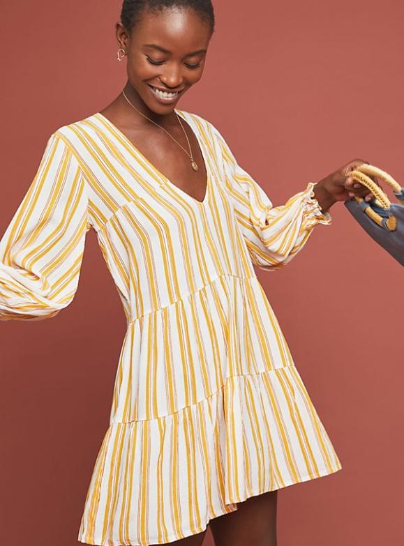 Faithful Azure Striped Dress