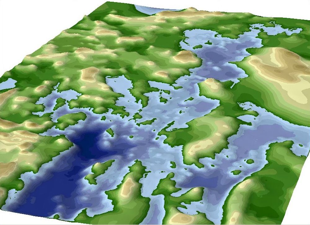 Land and water elevation model
