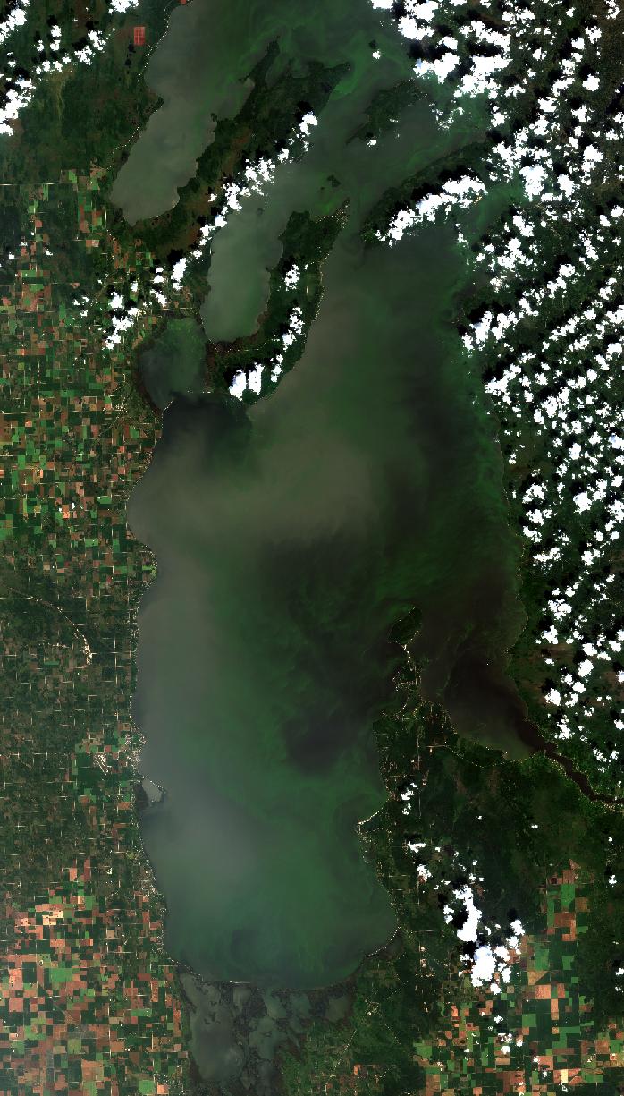 Southern Basin Lake Winnipeg, August 14, 2017. Copyright: contains modified ESA data.