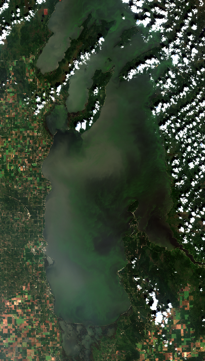August 14, 2017. Turbid, or muddy, water from the Red River moved north along the west shore. Meanwhile, the stained but slightly more clear water from the Winnipeg River pooled in Traverse Bay, and into the center of the South Basin of Lake Winnipeg. Click    here    for high resolution satellite image.