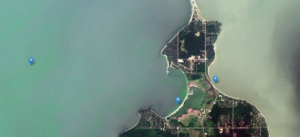 August 9, 2018. Offshore blooms (left) have moved ashore on Hillside Beach (middle). Like the west side Beaches the amount of algae is less on the east side of the causeway (right) and at Albert Beach now.