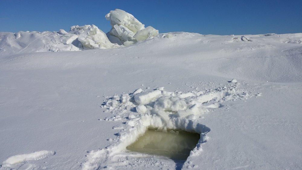 Ridges flood snow with lake water during uplift - winter period.