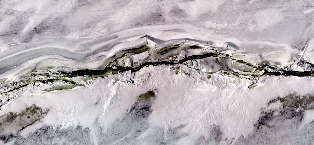 April 5, 2018 - open water along ridge axis. Fixed wing drone data collected during Intermittent Melt Period.