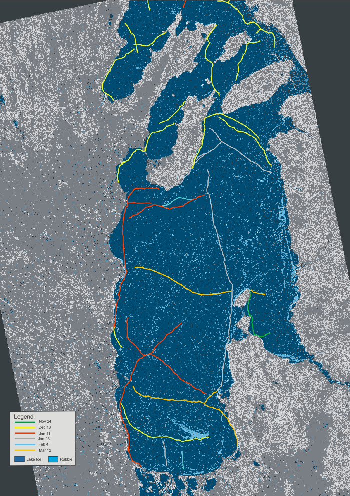 Distribution of lake ice, rubble fields, and pressure ridges from November 24, 2018 to March 12, 2019 (highly decimated!) in the southern basin of Lake Winnipeg. Dates indicate the first imaging of the emerging ridges. As of March 12, the length of pressure ridges present was 523.9 km.