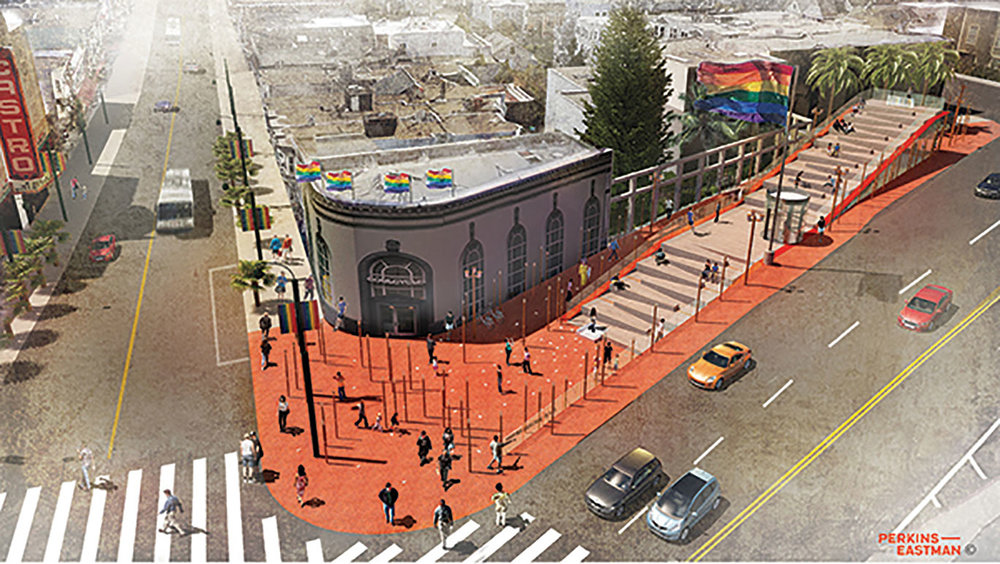 "The winning entry from the design team led by Perkins Eastman, which included structural engineering by Arup, graphic design by Propp + Guerin, lighting design by Lightswitch SF, Inc and artwork by Cybele Lyle. Friends of Harvey Milk Plaza president, Andrea Aiello praised the design's ""immersive experience"" allowing people to interact with the memorial component."
