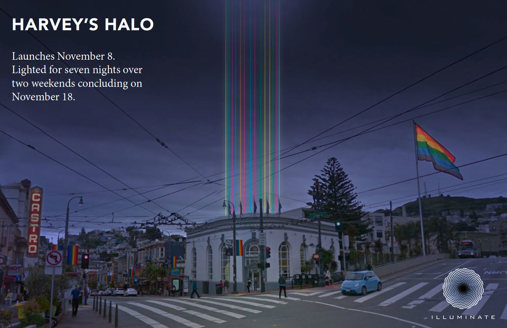 HARVEY'S HALO raises a colorful beacon of equality into the sky above Harvey Milk Plaza for seven nights (November 8-11 & 16-18) over two weekends.