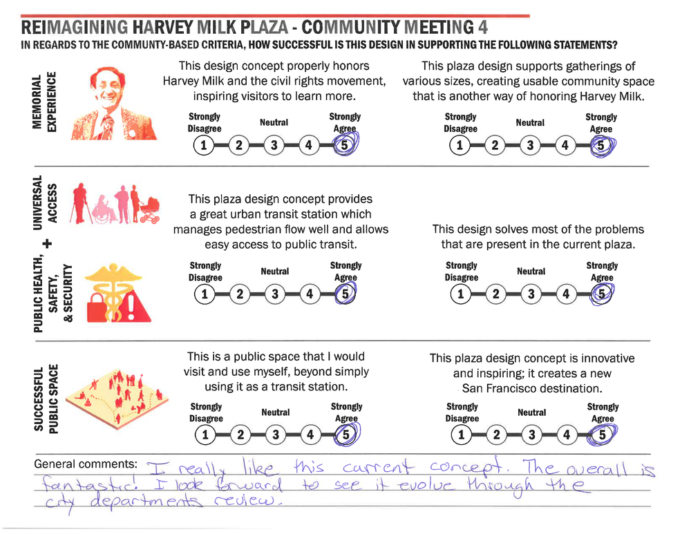 "Participant 5 General Comments Transcribed:  ""I really like this current concept. The overall is fantastic! I look forward to see it evolve through the city departments review."""